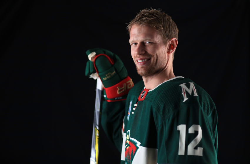 TAMPA, FL - JANUARY 27: Eric Staal #12 of the Minnesota Wild poses for a portrait during the 2018 NHL All-Star at Amalie Arena on January 27, 2018 in Tampa, Florida. (Photo by Mike Ehrmann/Getty Images)