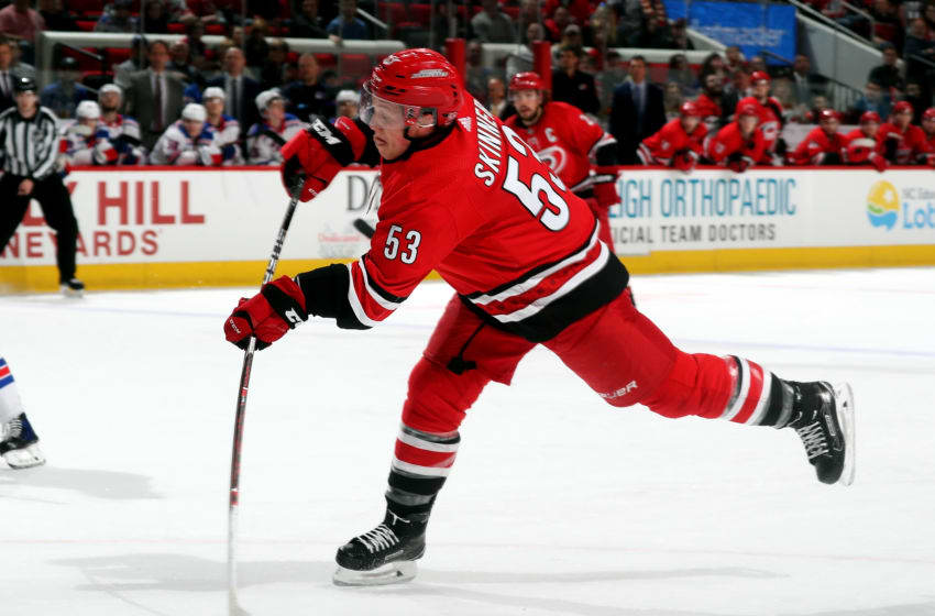 RALEIGH, NC - MARCH 31: Jeff Skinner #53 of the Carolina Hurricanes fires a shot in the waning minutes of the third period of an NHL game against the New York Rangers on March 31, 2018 at PNC Arena in Raleigh, North Carolina. (Photo by Gregg Forwerck/NHLI via Getty Images)