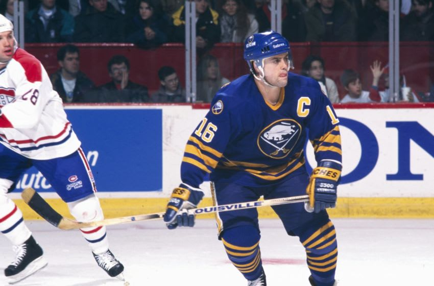 MONTREAL 1990's: Pat LaFontaine #16 of the Buffalo Sabres skates against the Montreal Canadiens in the 1990's at the Montreal Forum in Montreal, Quebec, Canada. (Photo by Denis Brodeur/NHLI via Getty Images)