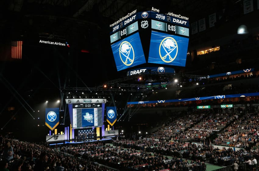 DALLAS, TX - JUNE 22: A general view of the draft floor is seen before the Buffalo Sabres pick during the first round of the 2018 NHL Draft at American Airlines Center on June 22, 2018 in Dallas, Texas. (Photo by Glenn James/NHLI via Getty Images)