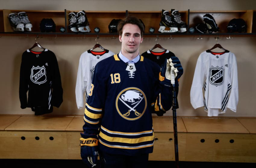 DALLAS, TX - JUNE 23: Mattias Samuelsson poses for a portrait after being selected 32nd overall by the Buffalo Sabres during the 2018 NHL Draft at American Airlines Center on June 23, 2018 in Dallas, Texas. (Photo by Jeff Vinnick/NHLI via Getty Images)