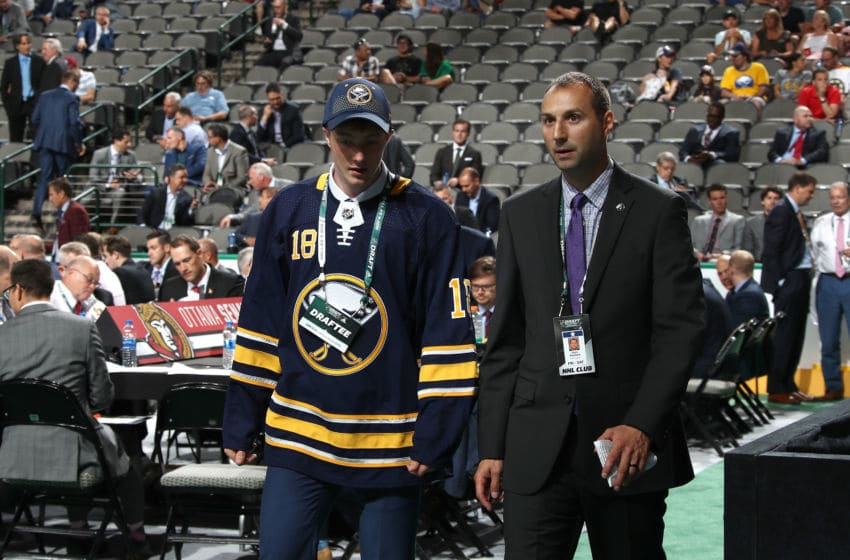 DALLAS, TX - JUNE 23: Miska Kukkonen reacts after being selected 125th overall by the Buffalo Sabres during the 2018 NHL Draft at American Airlines Center on June 23, 2018 in Dallas, Texas. (Photo by Bruce Bennett/Getty Images)