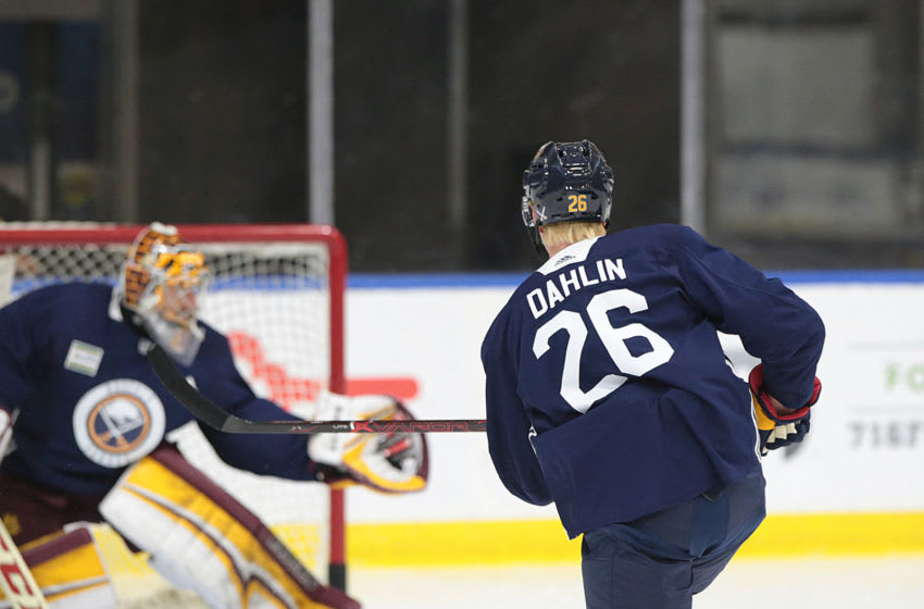 BUFFALO, NY - JUNE 28: Buffalo Sabres Rasmus Dahlin 26 shoots on goal during the 2018 Buffalo Sabres Development Camp on June 28, 2018, at HarborCenter in Buffalo, New York. (Photo by Jerome Davis/Icon Sportswire via Getty Images)
