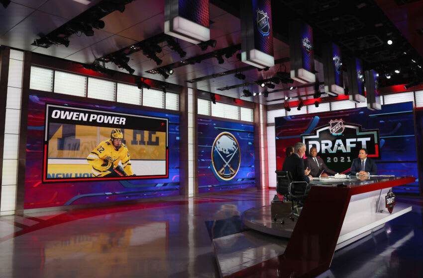 SECAUCUS, NEW JERSEY - JULY 23: With the first pick in the 2021 NHL Entry Draft, the Buffalo Sabres select Owen Power during the first round of the 2021 NHL Entry Draft at the NHL Network studios on July 23, 2021 in Secaucus, New Jersey. (Photo by Bruce Bennett/Getty Images)
