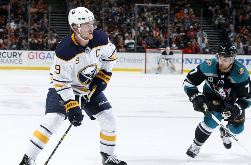 ANAHEIM, CA - OCTOBER 21: Jack Eichel #9 of the Buffalo Sabres skates with the puck with pressure from Andrew Cogliano #7 of the Anaheim Ducks during the game on October 21, 2018 at Honda Center in Anaheim, California. (Photo by Debora Robinson/NHLI via Getty Images)