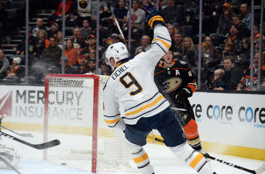 October 16, 2019; Anaheim, CA, USA; Buffalo Sabres center Jack Eichel (9) celebrates his goal scored against the Anaheim Ducks during the first period at Honda Center. Mandatory Credit: Gary A. Vasquez-USA TODAY Sports