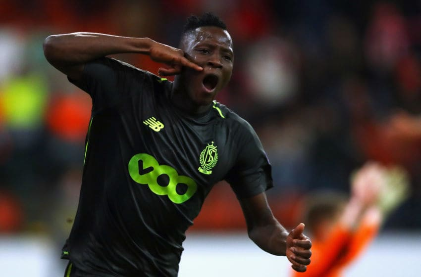 LIEGE, BELGIUM - NOVEMBER 29: Moussa Djenepo of Standard Liege celebrates after scoring his team's first goal during the UEFA Europa League Group J match between Royal Standard de Liege and Sevilla at Stade Maurice Dufrasne on November 29, 2018 in Liege, Belgium. (Photo by Dean Mouhtaropoulos/Getty Images)
