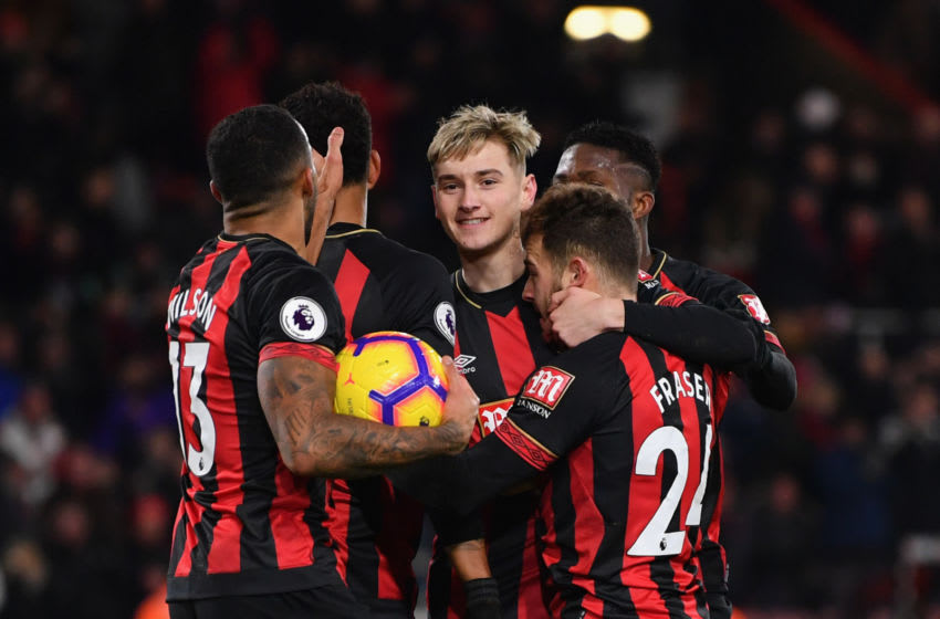 BOURNEMOUTH, ENGLAND - JANUARY 02: Ryan Fraser of AFC Bournemouth (24) celebrates scores his team's third goal with David Brooks (C) and team mates during the Premier League match between AFC Bournemouth and Watford FC at Vitality Stadium on January 2, 2019 in Bournemouth, United Kingdom. (Photo by Dan Mullan/Getty Images)