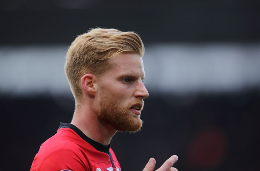 SOUTHAMPTON, ENGLAND - APRIL 13: Josh Sims of Southampton during the Premier League match between Southampton FC and Wolverhampton Wanderers at St Mary's Stadium on April 13, 2019 in Southampton, United Kingdom. (Photo by Matthew Ashton - AMA/Getty Images)