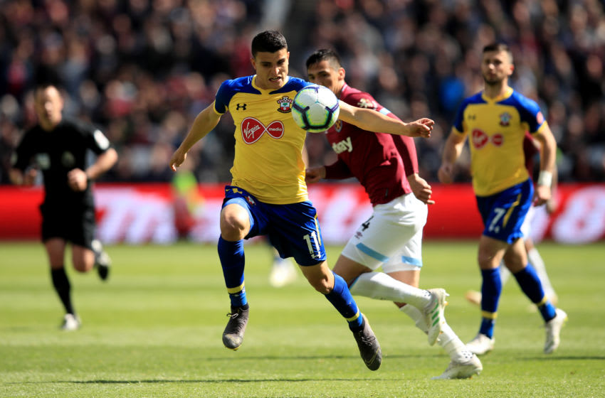 LONDON, ENGLAND - MAY 04: Mohamed Elyounoussi of Southampton during the Premier League match between West Ham United and Southampton FC at London Stadium on May 4, 2019 in London, United Kingdom. (Photo by Marc Atkins/Getty Images)