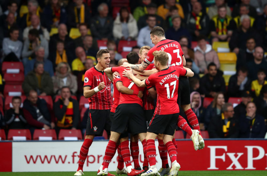 WATFORD, ENGLAND - APRIL 23: Shane Long of Southampton celebrates with teammates after scoring his team's first goal during the Premier League match between Watford FC and Southampton FC at Vicarage Road on April 23, 2019 in Watford, United Kingdom. (Photo by Marc Atkins/Getty Images)
