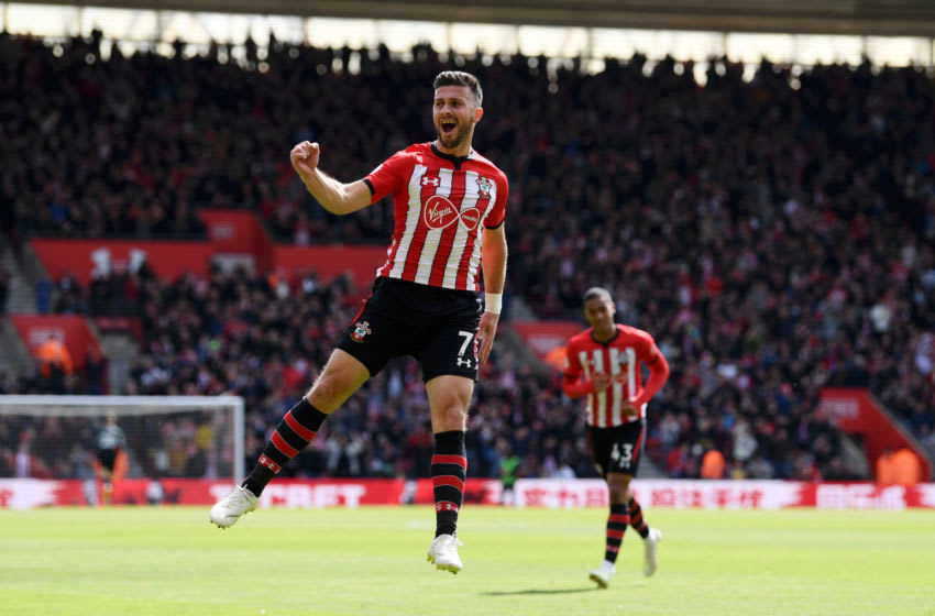 SOUTHAMPTON, ENGLAND - APRIL 27: Shane Long of Southampton celebrates after scoring his team's first goal during the Premier League match between Southampton FC and AFC Bournemouth at St Mary's Stadium on April 27, 2019 in Southampton, United Kingdom. (Photo by Stu Forster/Getty Images)