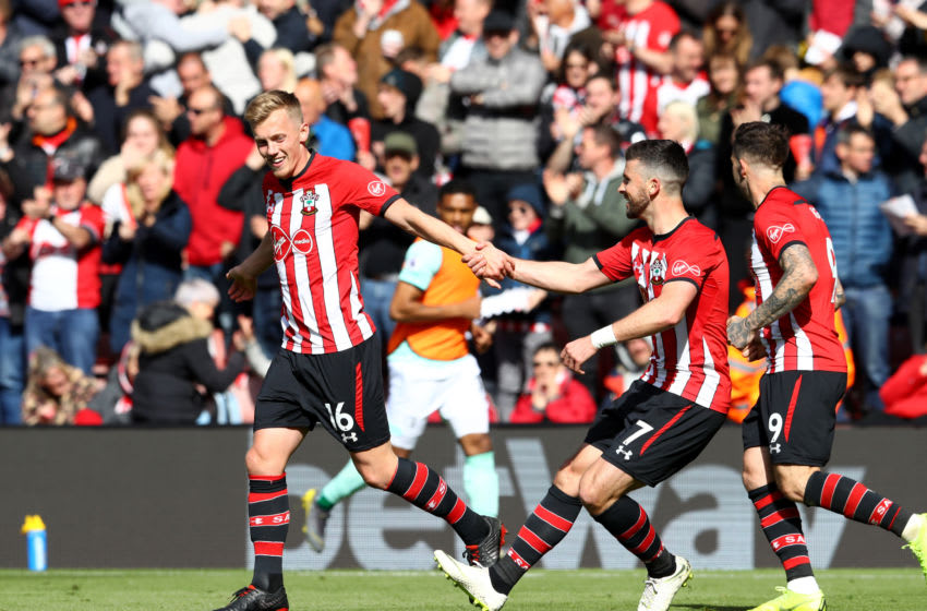 SOUTHAMPTON, ENGLAND - APRIL 27: James Ward-Prowse of Southampton celebrates with teammate Shane Long after scoring his team's second goal during the Premier League match between Southampton FC and AFC Bournemouth at St Mary's Stadium on April 27, 2019 in Southampton, United Kingdom. (Photo by Michael Steele/Getty Images)