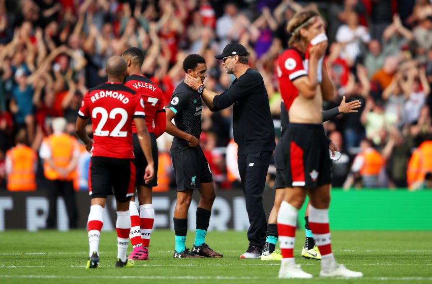 SOUTHAMPTON, ENGLAND - AUGUST 17: Jurgen Klopp, Manager of Liverpool acknowledges Trent Alexander-Arnold of Liverpool following their teams victory in the Premier League match between Southampton FC and Liverpool FC at St Mary's Stadium on August 17, 2019 in Southampton, United Kingdom. (Photo by Warren Little/Getty Images)