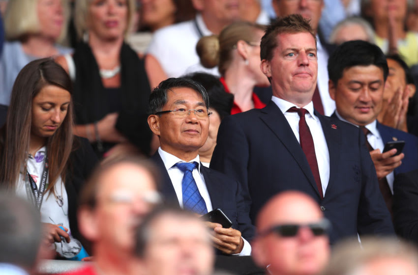 SOUTHAMPTON, ENGLAND - AUGUST 31: Southampton Chairman Gao Jisheng looks on from the stands during the Premier League match between Southampton FC and Manchester United at St Mary's Stadium on August 31, 2019 in Southampton, United Kingdom. (Photo by Catherine Ivill/Getty Images)