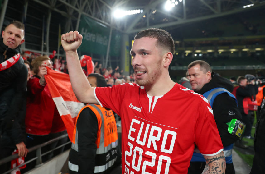 DUBLIN, IRELAND - NOVEMBER 18: Pierre Emile Hojbjerg of Denmark celebrates with the fans after the UEFA Euro 2020 qualifier between Republic of Ireland and Denmark at Dublin Arena on November 18, 2019 in Dublin, . (Photo by Catherine Ivill/Getty Images)