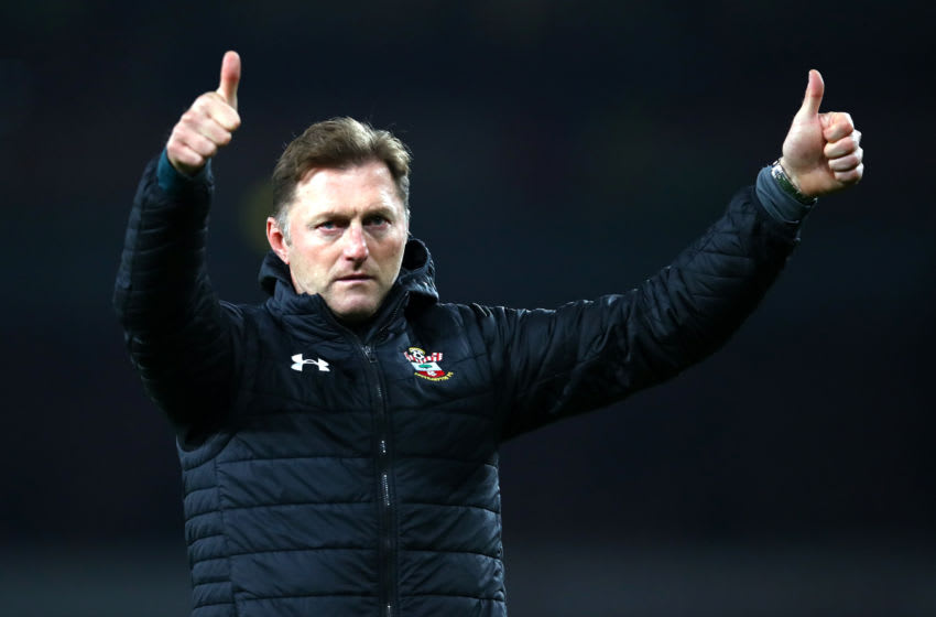 LONDON, ENGLAND - NOVEMBER 23: Ralph Hasenhuttl, Manager of Southampton acknowledges the fans after the Premier League match between Arsenal FC and Southampton FC at Emirates Stadium on November 23, 2019 in London, United Kingdom. (Photo by Julian Finney/Getty Images)