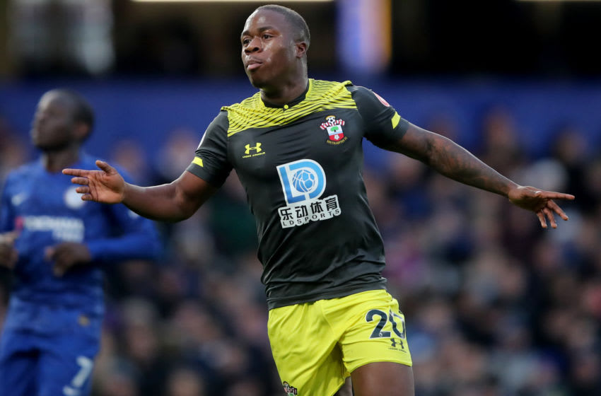LONDON, ENGLAND - DECEMBER 26: Michael Obafemi of Southampton celebrates his goal during the Premier League match between Chelsea FC and Southampton FC at Stamford Bridge on December 26, 2019 in London, United Kingdom. (Photo by Marc Atkins/Getty Images)
