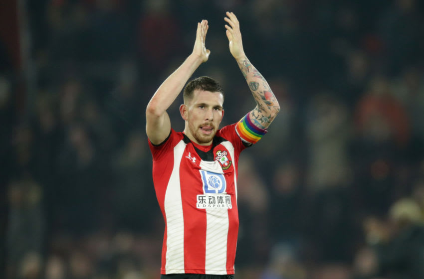 SOUTHAMPTON, ENGLAND - DECEMBER 04: Pierre-Emile Hojbjerg of Southampton after his sides 2-1 win during the Premier League match between Southampton FC and Norwich City at St Mary's Stadium on December 04, 2019 in Southampton, United Kingdom. (Photo by Robin Jones/Getty Images)