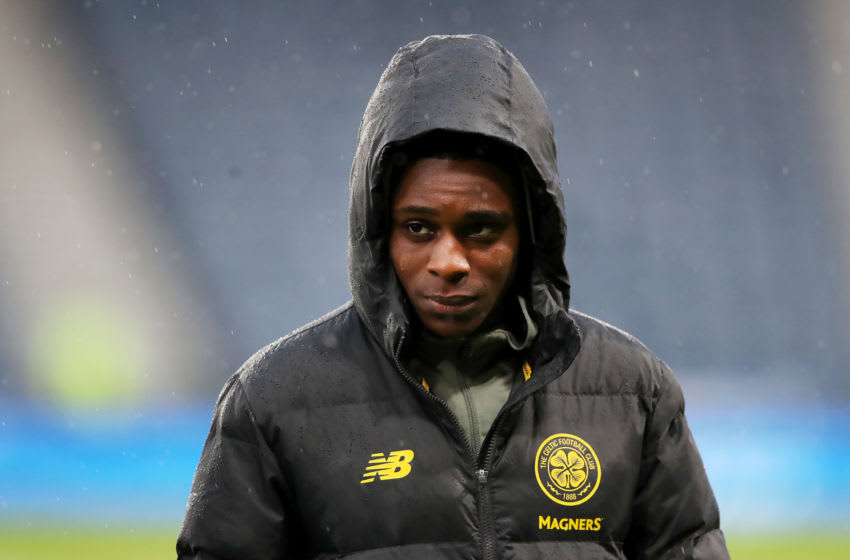 GLASGOW, SCOTLAND - DECEMBER 08: Jeremie Frimpong of Celtic looks on prior to the Betfred Cup Final between Rangers FC and Celtic FC at Hampden Park on December 08, 2019 in Glasgow, Scotland. (Photo by Ian MacNicol/Getty Images)