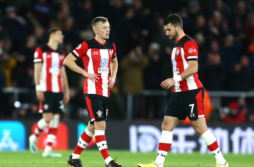 SOUTHAMPTON, ENGLAND - DECEMBER 14: Southampton players look dejected after West Ham score their second goal, which is later ruled out by VAR during the Premier League match between Southampton FC and West Ham United at St Mary's Stadium on December 14, 2019 in Southampton, United Kingdom. (Photo by Jordan Mansfield/Getty Images)