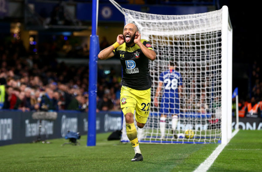 LONDON, ENGLAND - DECEMBER 26: Nathan Redmond of Southampton celebrates after putting his team 2-0 up during the Premier League match between Chelsea FC and Southampton FC at Stamford Bridge on December 26, 2019 in London, United Kingdom. (Photo by Matt Watson/Getty Images)