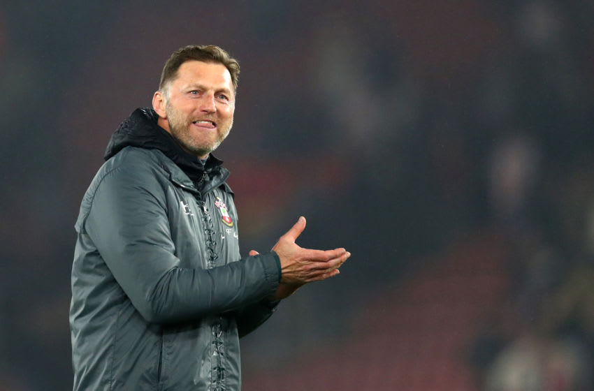 SOUTHAMPTON, ENGLAND - JANUARY 01: Ralph Hasenhuttl, Manager of Southampton applauds fans after the Premier League match between Southampton FC and Tottenham Hotspur at St Mary's Stadium on January 01, 2020 in Southampton, United Kingdom. (Photo by Dan Istitene/Getty Images)