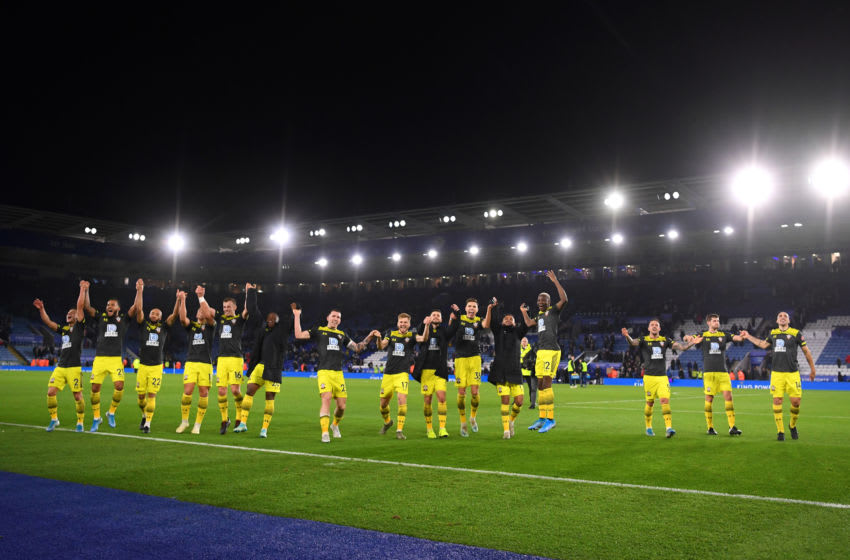 LEICESTER, ENGLAND - JANUARY 11: General view inside the stadium as players of Southampton celebrate with the fans following the Premier League match between Leicester City and Southampton FC at The King Power Stadium on January 11, 2020 in Leicester, United Kingdom. (Photo by Laurence Griffiths/Getty Images)