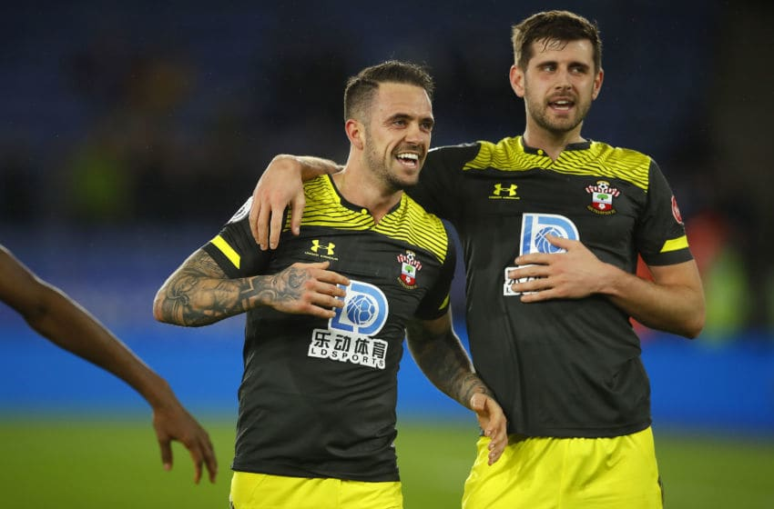 LEICESTER, ENGLAND - JANUARY 11: Danny Ings of Southampton (left) celebrates with Jack Stephens following the Premier League match between Leicester City and Southampton FC at The King Power Stadium on January 11, 2020 in Leicester, United Kingdom. (Photo by Malcolm Couzens/Getty Images)