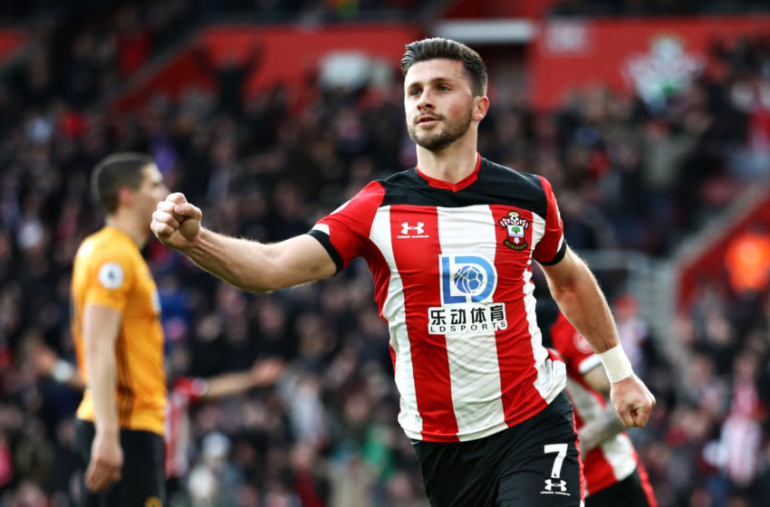 SOUTHAMPTON, ENGLAND - JANUARY 18: Shane Long of Southampton celebrates scoring his sides second goal during the Premier League match between Southampton FC and Wolverhampton Wanderers at St Mary's Stadium on January 18, 2020 in Southampton, United Kingdom. (Photo by Bryn Lennon/Getty Images)