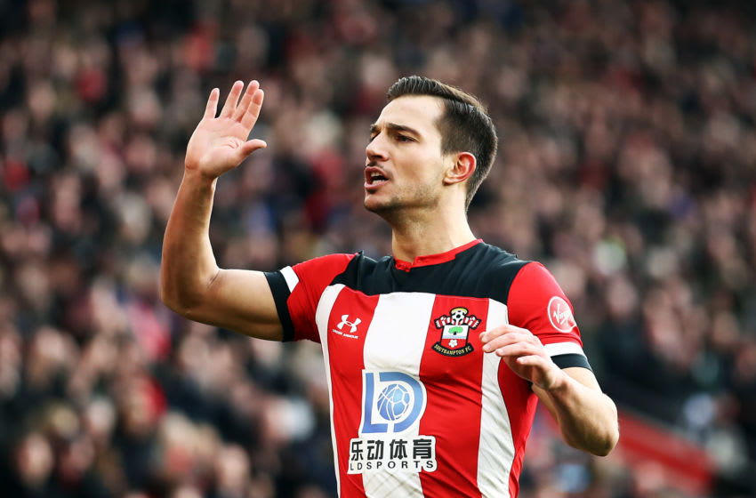 SOUTHAMPTON, ENGLAND - JANUARY 18: Cedric of Southampton celebrates during the Premier League match between Southampton FC and Wolverhampton Wanderers at St Mary's Stadium on January 18, 2020 in Southampton, United Kingdom. (Photo by Bryn Lennon/Getty Images)
