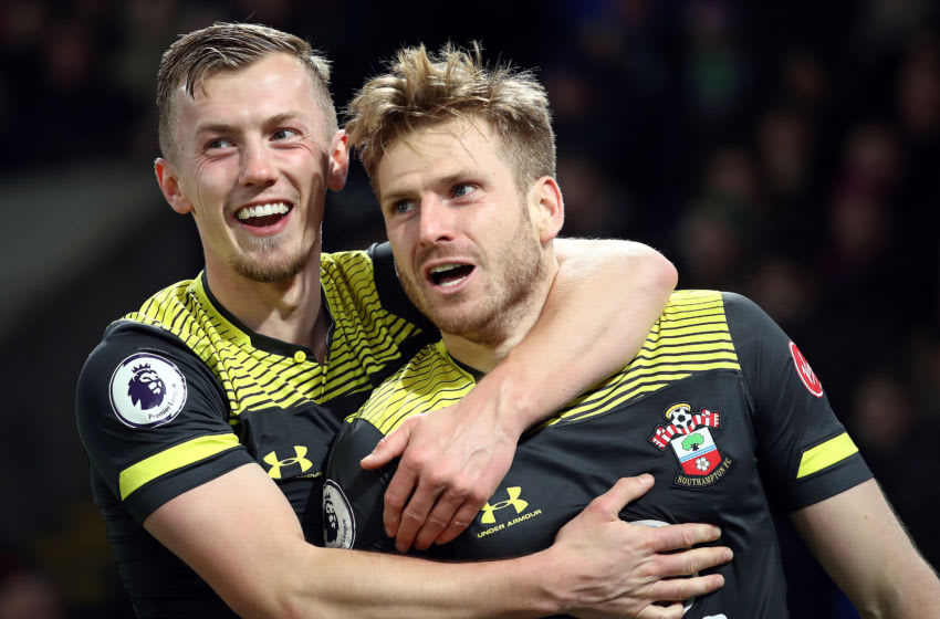 LONDON, ENGLAND - JANUARY 21: Stuart Armstrong (r) of Southampton celebrates scoring his side's second goal with team mate James Ward-Prowse after scoring during the Premier League match between Crystal Palace and Southampton FC at Selhurst Park on January 21, 2020 in London, United Kingdom. (Photo by Bryn Lennon/Getty Images)