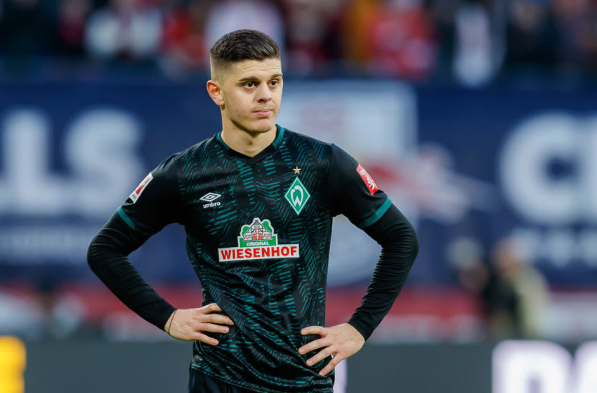 LEIPZIG, GERMANY - FEBRUARY 15: (BILD ZEITUNG OUT) Milot Rashica of SV Werder Bremen looks on during the Bundesliga match between RB Leipzig and SV Werder Bremen at Red Bull Arena on February 15, 2020 in Leipzig, Germany. (Photo by Roland Krivec/DeFodi Images via Getty Images)