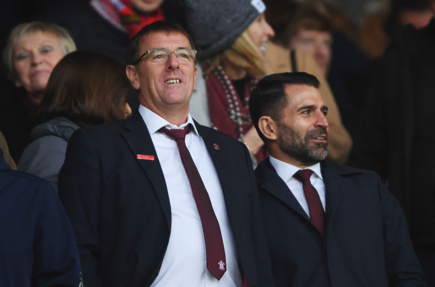SOUTHAMPTON, ENGLAND - JANUARY 25: Ex-Southampton players Matt Le Tissier and Francis Benali are seen in the stands prior to the FA Cup Fourth Round match between Southampton FC and Tottenham Hotspur at St. Mary's Stadium on January 25, 2020 in Southampton, England. (Photo by Mike Hewitt/Getty Images)