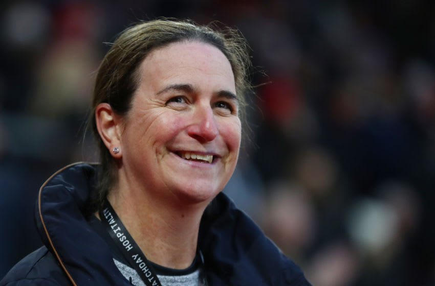 SOUTHAMPTON, ENGLAND - JANUARY 25: Marieanne Spacey-Cale, Manager of Southampton FC Women smiles during the FA Cup Fourth Round match between Southampton and Tottenham Hotspur at St. Mary's Stadium on January 25, 2020 in Southampton, England. (Photo by Dan Istitene/Getty Images)