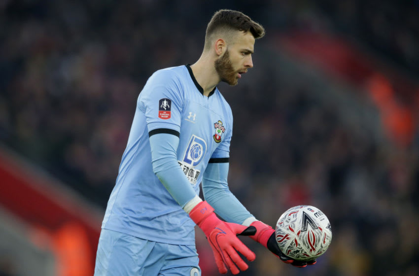 SOUTHAMPTON, ENGLAND - JANUARY 25: Angus Gunn of Southampton during the FA Cup Fourth Round match between Southampton and Tottenham Hotspur at St. Mary's Stadium on January 25, 2020 in Southampton, England. (Photo by Robin Jones/Getty Images)