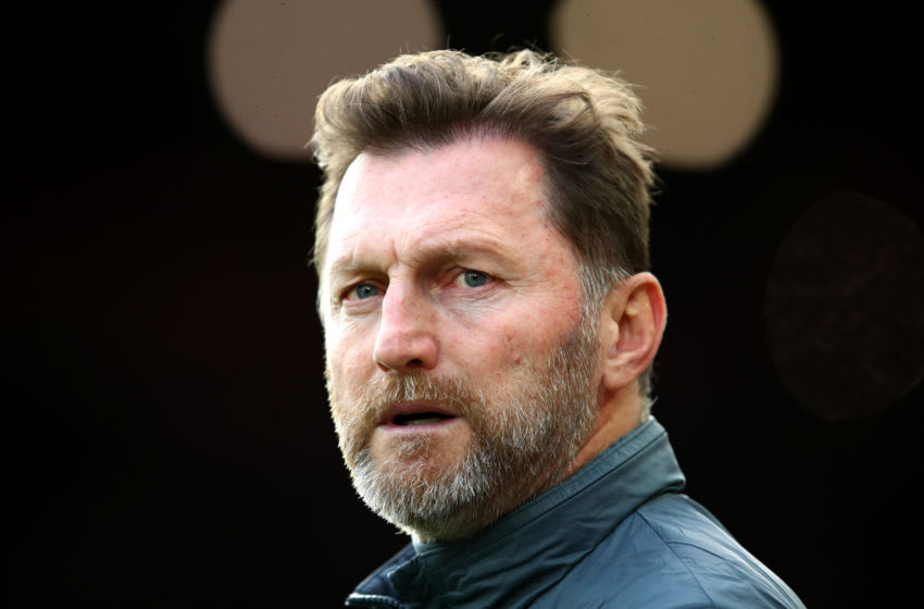 LIVERPOOL, ENGLAND - FEBRUARY 01: Ralph Hasenhuttl, Manager of Southampton looks on prior to the Premier League match between Liverpool FC and Southampton FC at Anfield on February 01, 2020 in Liverpool, United Kingdom. (Photo by Julian Finney/Getty Images)
