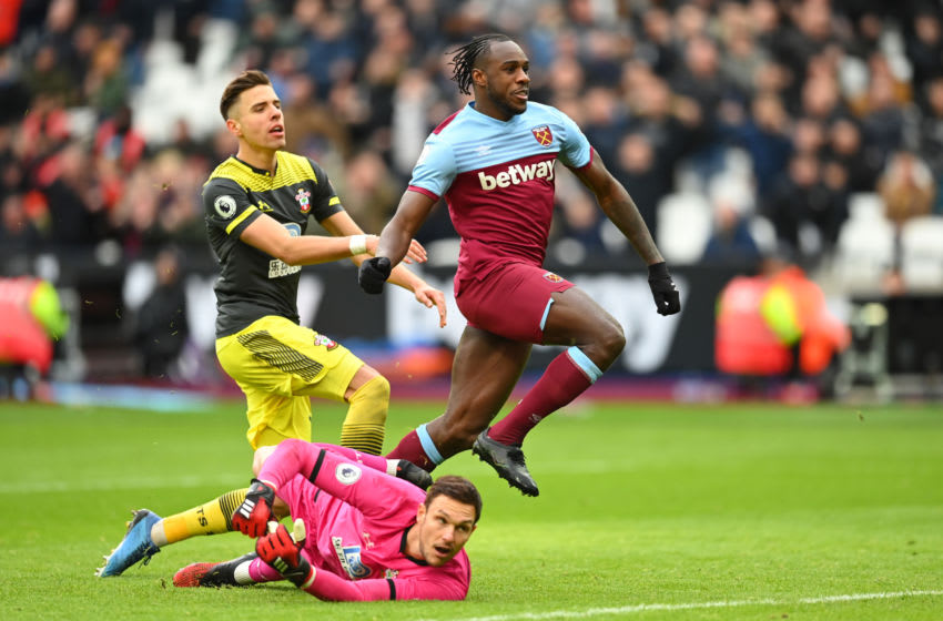 LONDON, ENGLAND - FEBRUARY 29: Michail Antonio of West Ham United scores his team's third goal during the Premier League match between West Ham United and Southampton FC at London Stadium on February 29, 2020 in London, United Kingdom. (Photo by Clive Mason/Getty Images)