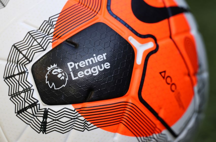 A ball of the match is pictured during the English Premier League football match between Norwich City and Southampton at Carrow Road in Norwich, eastern England on June 19, 2020. (Photo by MIKE EGERTON / POOL / AFP) / RESTRICTED TO EDITORIAL USE. No use with unauthorized audio, video, data, fixture lists, club/league logos or 'live' services. Online in-match use limited to 120 images. An additional 40 images may be used in extra time. No video emulation. Social media in-match use limited to 120 images. An additional 40 images may be used in extra time. No use in betting publications, games or single club/league/player publications. / (Photo by MIKE EGERTON/POOL/AFP via Getty Images)