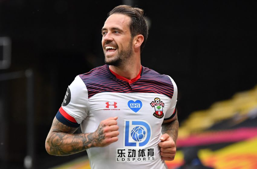 Southampton's English striker Danny Ings celebrates scoring their second goal during the English Premier League football match between Watford and Southampton at Vicarage Road Stadium in Watford, north of London on June 28, 2020. (Photo by Justin Setterfield / POOL / AFP) / RESTRICTED TO EDITORIAL USE. No use with unauthorized audio, video, data, fixture lists, club/league logos or 'live' services. Online in-match use limited to 120 images. An additional 40 images may be used in extra time. No video emulation. Social media in-match use limited to 120 images. An additional 40 images may be used in extra time. No use in betting publications, games or single club/league/player publications. / (Photo by JUSTIN SETTERFIELD/POOL/AFP via Getty Images)