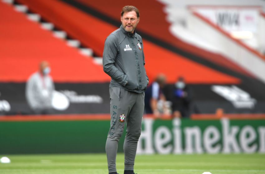 Southampton's Austrian manager Ralph Hasenhuttl looks on during the warm up the English Premier League football match between Bournemouth and Southampton at the Vitality Stadium in Bournemouth, southern England on July 19, 2020. (Photo by Mike Hewitt / POOL / AFP) / RESTRICTED TO EDITORIAL USE. No use with unauthorized audio, video, data, fixture lists, club/league logos or 'live' services. Online in-match use limited to 120 images. An additional 40 images may be used in extra time. No video emulation. Social media in-match use limited to 120 images. An additional 40 images may be used in extra time. No use in betting publications, games or single club/league/player publications. / (Photo by MIKE HEWITT/POOL/AFP via Getty Images)
