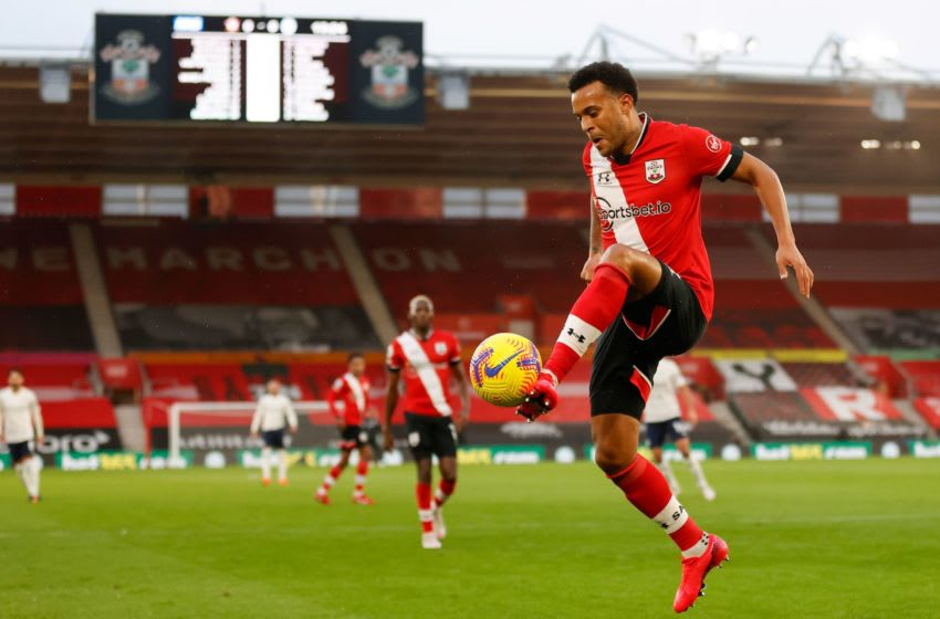 Southampton's English defender Ryan Bertrand controls the ball during the English Premier League football match between Southampton and Manchester City at St Mary's Stadium in Southampton, southern England on December 19, 2020. (Photo by Adrian DENNIS / POOL / AFP) / RESTRICTED TO EDITORIAL USE. No use with unauthorized audio, video, data, fixture lists, club/league logos or 'live' services. Online in-match use limited to 120 images. An additional 40 images may be used in extra time. No video emulation. Social media in-match use limited to 120 images. An additional 40 images may be used in extra time. No use in betting publications, games or single club/league/player publications. / (Photo by ADRIAN DENNIS/POOL/AFP via Getty Images)