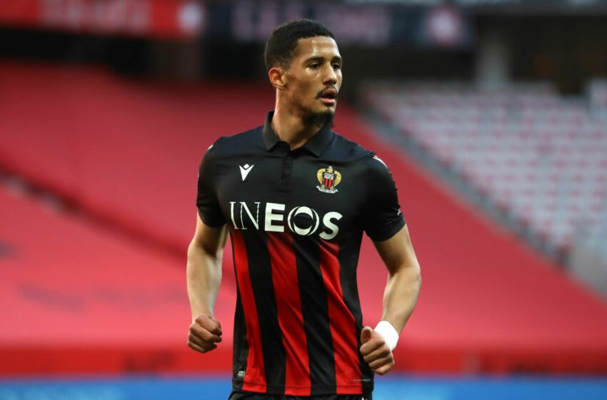 Nice's French defender William Saliba looks on during the French L1 football match between Nice and Bordeaux at the