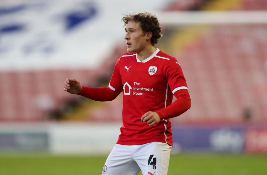 BARNSLEY, ENGLAND - JANUARY 23: Callum Styles of Barnsley during The Emirates FA Cup Fourth Round match between Barnsley and Norwich City at Oakwell Stadium on January 23, 2021 in Barnsley, England. Sporting stadiums around the UK remain under strict restrictions due to the Coronavirus Pandemic as Government social distancing laws prohibit fans inside venues resulting in games being played behind closed doors. (Photo by James Williamson - AMA/Getty Images)