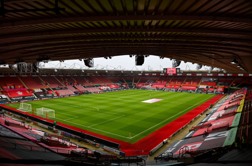 SOUTHAMPTON, ENGLAND - FEBRUARY 14: A general internal view of St Marys Stadium, home stadium of Southampton ahead of the Premier League match between Southampton and Wolverhampton Wanderers at St Mary's Stadium on February 14, 2021 in Southampton, United Kingdom. Sporting stadiums around the UK remain under strict restrictions due to the Coronavirus Pandemic as Government social distancing laws prohibit fans inside venues resulting in games being played behind closed doors. (Photo by Sam Bagnall - AMA/Getty Images)