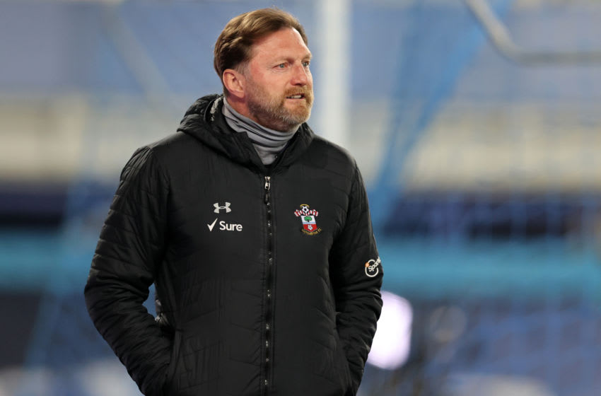 Southampton's Austrian manager Ralph Hasenhuttl arrives for the English Premier League football match between Everton and Southampton at Goodison Park in Liverpool, north west England on March 1, 2021. (Photo by Clive Brunskill / POOL / AFP) / RESTRICTED TO EDITORIAL USE. No use with unauthorized audio, video, data, fixture lists, club/league logos or 'live' services. Online in-match use limited to 120 images. An additional 40 images may be used in extra time. No video emulation. Social media in-match use limited to 120 images. An additional 40 images may be used in extra time. No use in betting publications, games or single club/league/player publications. / (Photo by CLIVE BRUNSKILL/POOL/AFP via Getty Images)
