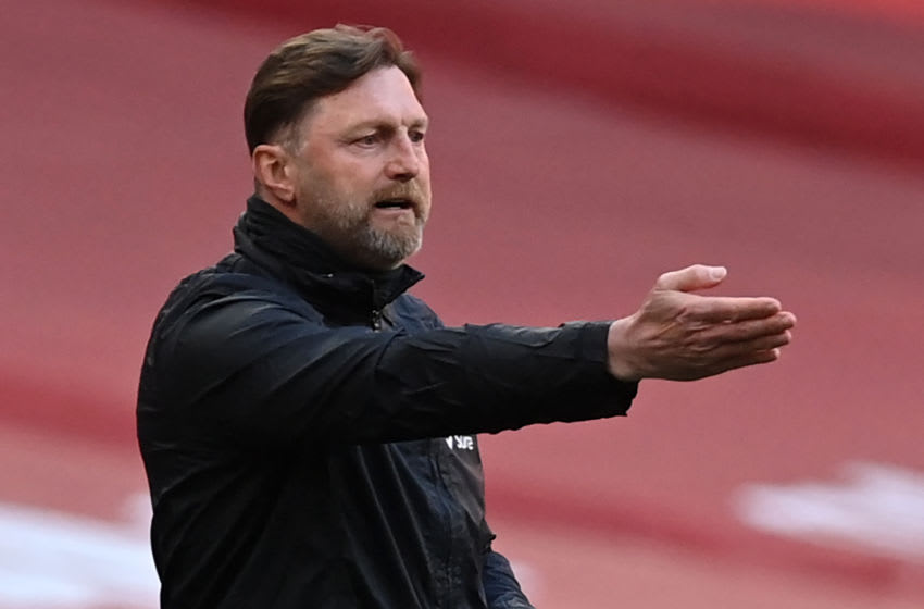 Southampton's Austrian manager Ralph Hasenhuttl gestures on the touchline during the English FA Cup semi-final football match between Leicester City and Southampton at Wembley Stadium in north west London on April 18, 2021. - - NOT FOR MARKETING OR ADVERTISING USE / RESTRICTED TO EDITORIAL USE (Photo by NEIL HALL / POOL / AFP) / NOT FOR MARKETING OR ADVERTISING USE / RESTRICTED TO EDITORIAL USE (Photo by NEIL HALL/POOL/AFP via Getty Images)