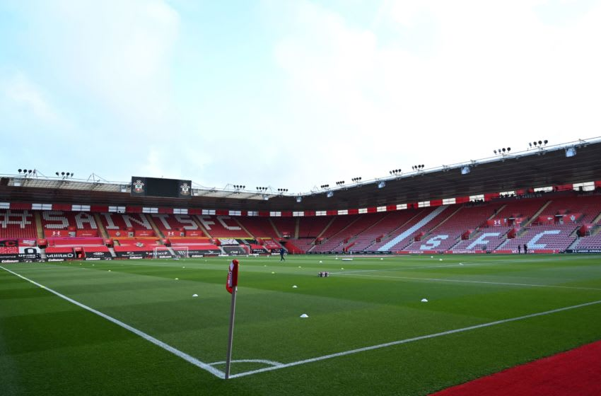 A general view of the stadium is pictured ahead of the English Premier League football match between Southampton and Crystal Palace at St Mary's Stadium in Southampton, southern England on May 11, 2021. - RESTRICTED TO EDITORIAL USE. No use with unauthorized audio, video, data, fixture lists, club/league logos or 'live' services. Online in-match use limited to 120 images. An additional 40 images may be used in extra time. No video emulation. Social media in-match use limited to 120 images. An additional 40 images may be used in extra time. No use in betting publications, games or single club/league/player publications. (Photo by Glyn KIRK / POOL / AFP) / RESTRICTED TO EDITORIAL USE. No use with unauthorized audio, video, data, fixture lists, club/league logos or 'live' services. Online in-match use limited to 120 images. An additional 40 images may be used in extra time. No video emulation. Social media in-match use limited to 120 images. An additional 40 images may be used in extra time. No use in betting publications, games or single club/league/player publications. / RESTRICTED TO EDITORIAL USE. No use with unauthorized audio, video, data, fixture lists, club/league logos or 'live' services. Online in-match use limited to 120 images. An additional 40 images may be used in extra time. No video emulation. Social media in-match use limited to 120 images. An additional 40 images may be used in extra time. No use in betting publications, games or single club/league/player publications. (Photo by GLYN KIRK/POOL/AFP via Getty Images)