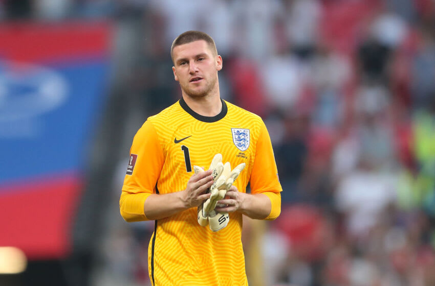 LONDON, ENGLAND - SEPTEMBER 05: Sam Johnstone of England during the 2022 FIFA World Cup Qualifier between England and Andorra at Wembley Stadium on September 5, 2021 in London, England. (Photo by James Williamson - AMA/Getty Images)