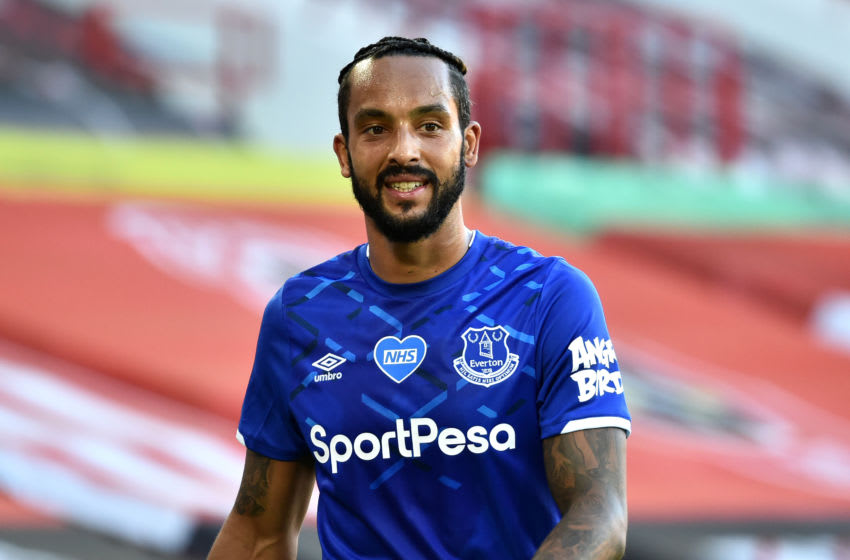SHEFFIELD, ENGLAND - JULY 20: Theo Walcott of Everton reacts during the Premier League match between Sheffield United and Everton FC at Bramall Lane on July 20, 2020 in Sheffield, England. Football Stadiums around Europe remain empty due to the Coronavirus Pandemic as Government social distancing laws prohibit fans inside venues resulting in all fixtures being played behind closed doors. (Photo by Rui Vieira/Pool via Getty Images)